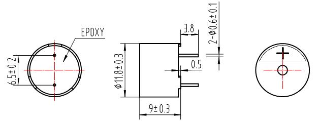 2.尺寸图 单位: mm *基本公差: 除特殊注明外,一般公差为0.5mm *外壳材料:Black PPO  3.电性能及声音测试条件 测试电路 测试装置  谐振频率是占空比为50% 的方波,信号电压要足够让晶体管饱和工作。 4.频响曲线 在5Vo-p占空比为50%的方波,测试距离为10cm的条件  5.可靠性测试 在下面任何一项测试后都要符合以下标准,外观和电性能(除声压外)上不能有不良或衰减现象出现,声压不能低于规格说明书的最低声压的10dB。 寿命测试 将测试件置于2510的温度下,输入额定电压